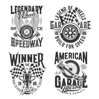 Sport de course, impressions de t-shirts motocross speedway pour courses automobiles et rallye, icônes. championnat de course et coupe de vitesse de moto, roues en feu et drapeau de victoire de finition avec pistons de moteur