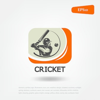 Sport de cricket. logo sport de cricket. jeu de sport