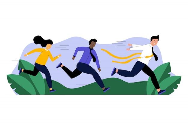 Sport d'entreprise multi-ethnique, victoire, démarrage, concept de compétition de motivation.