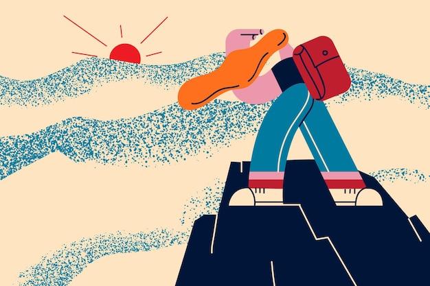 Sport extrême, randonnée, concept de réalisation