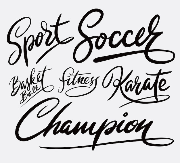 Sport de football et calligraphie d'écriture de champion de karaté