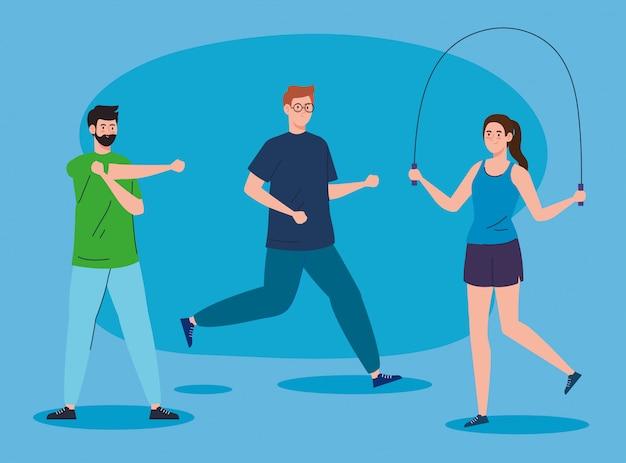Sport, groupe de personnes pratiquant un sport, mode de vie sain