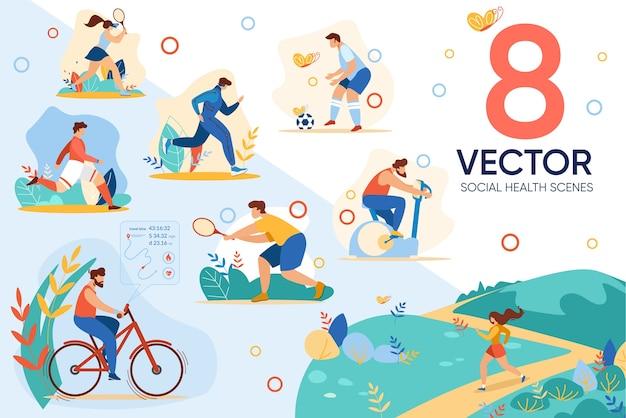 Sport Lifestyle Actif A Loisir Social Santé Vecteur Premium