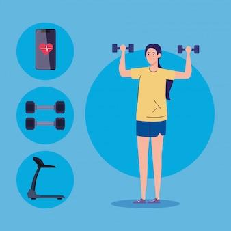 Sport et loisirs, femme avec des poids et des icônes de sport