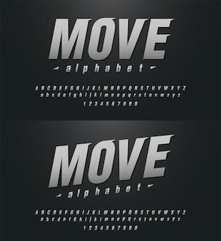 Sport moderne alphabet et polices de nombre