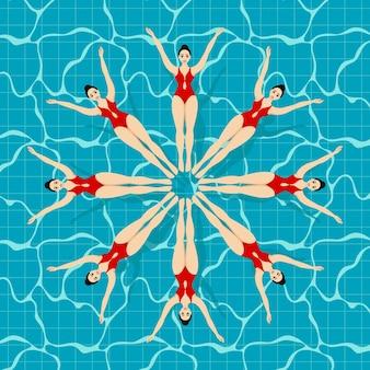 Sport de natation synchronisée. lettrage de natation synchronisée sur un fond avec différents nageurs.