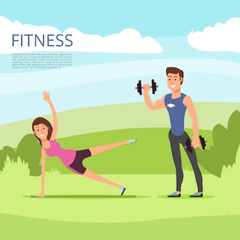 Sport en plein air ou entraînement physique avec personnages masculins et féminins