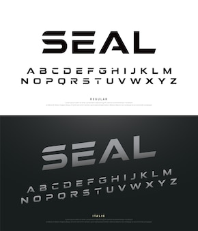 Sport polices modernes et alphabet typographie régulière et italique