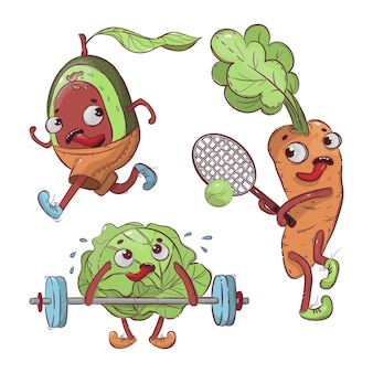 Sport vegetables cartoon health nutrition hand drawn t-shirt illustration set pour impression