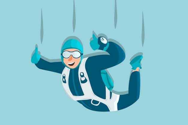 Sportif de dessin animé de plongée sky