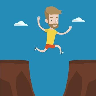 Sportif, sauter par-dessus, falaise, vecteur, illustration