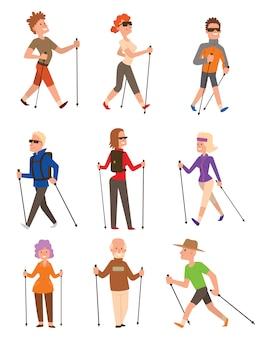 Sportifs de marche nordique