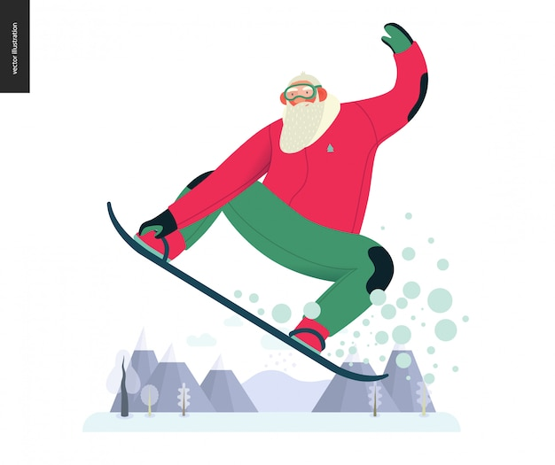 Sporting santa - snowboard