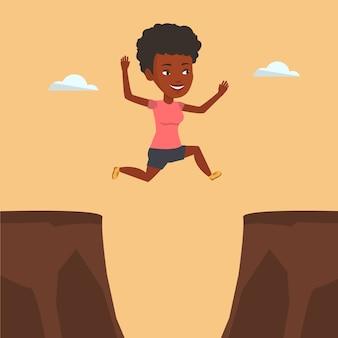 Sportive sautant par-dessus l'illustration vectorielle de falaise