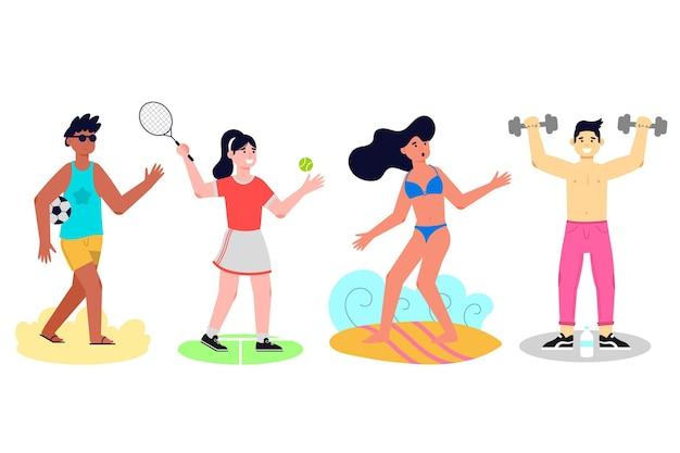Sports d'été design plat