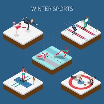Sports d'hiver isométrique