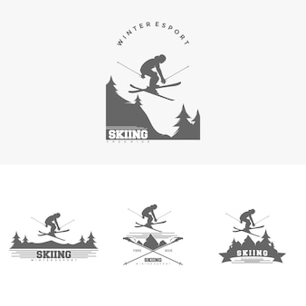 Sports d'hiver ski logo design template illustration vecteur