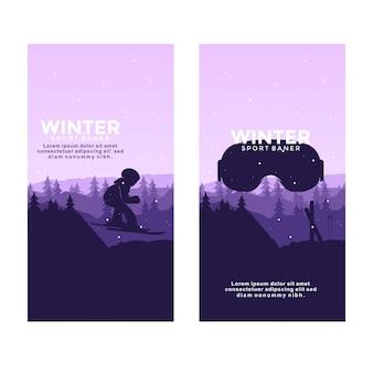 Sports d'hiver ski logo silhouette bannière illustration vectorielle