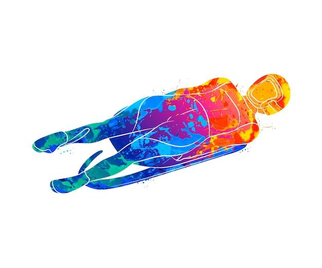 Sports d'hiver de sport de luge abstraite d'éclaboussure d'aquarelles