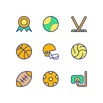 Sports icon set couleur