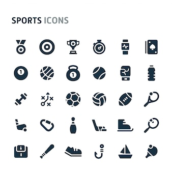 Sports icon set. série d'icônes fillio black.