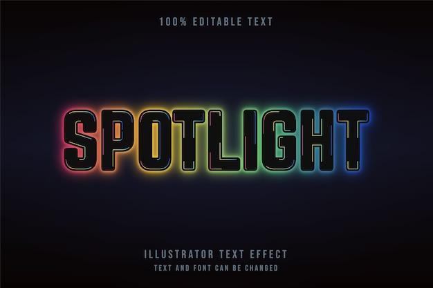 Spotlight, effet de texte modifiable dégradé noir effet de style néon bleu vert jaune