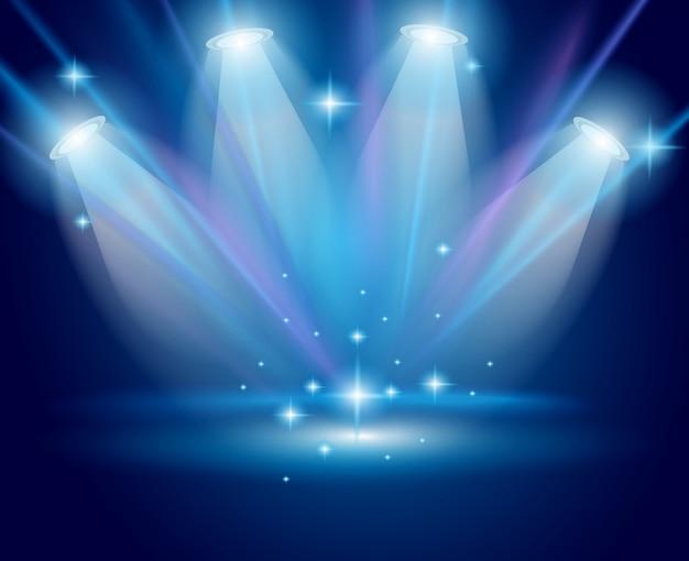 Spots magiques avec rayons bleus et effet brillant
