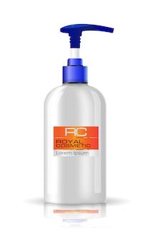Spray blanc brillant réaliste, flacon cosmétique avec capuchon bleu.