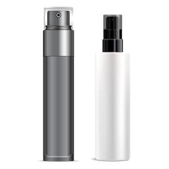 Spray cosmétique. flacon pulvérisateur en plastique. conteneur de produit cosmétique vierge, tube transparent. modèle d'aérosol de déodorant de pompe. essence de toner, paquet de verre acrylique de soins de beauté de femme