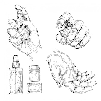 Spray désinfectant antibactérien dessiné à la main, gel. esquisse d'une femme à l'aide d'un vaporisateur désinfectant pour se protéger des bactéries et des virus.