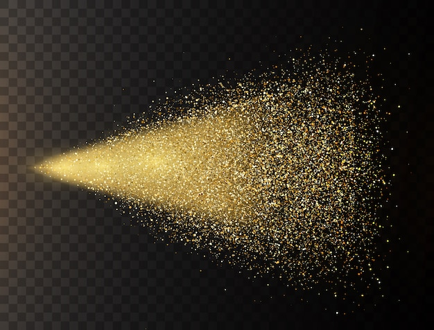 Spray de paillettes d'or sur fond transparent