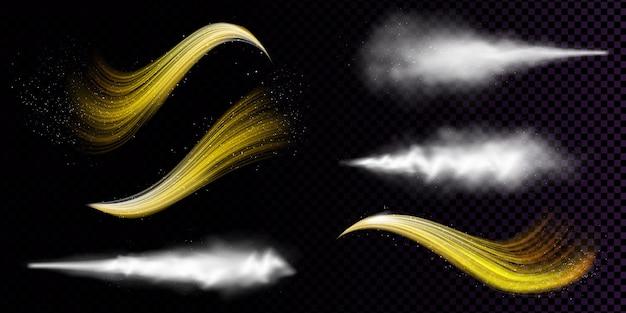 Spray de poussière blanche et flux ondulés de poudre dorée isolés sur fond transparent