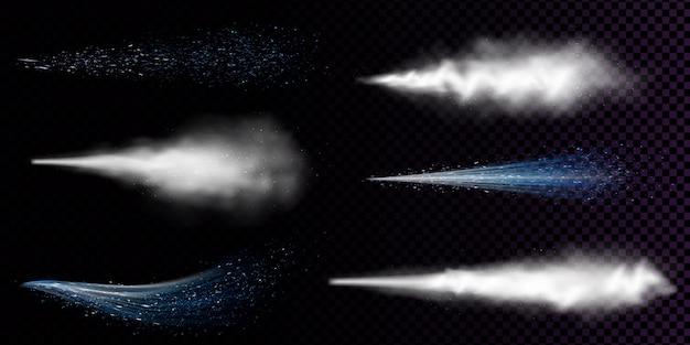 Spray de poussière blanche isolé. ensemble réaliste de vecteur de fumée courbe ou de poudre avec des particules s'écoule d'aérosol, flux bleu de pulvérisation de cosmétique, de parfum ou de déodorant