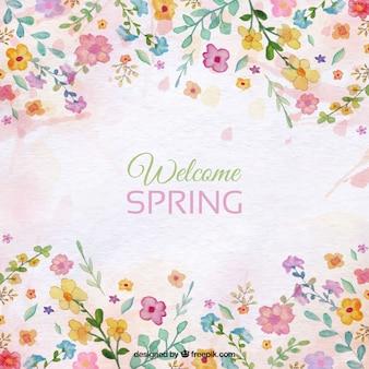Spring background avec des détails floraux d'aquarelle