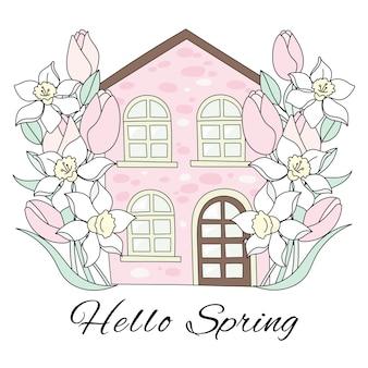 Spring house fleur jardin vacances vector illustration set