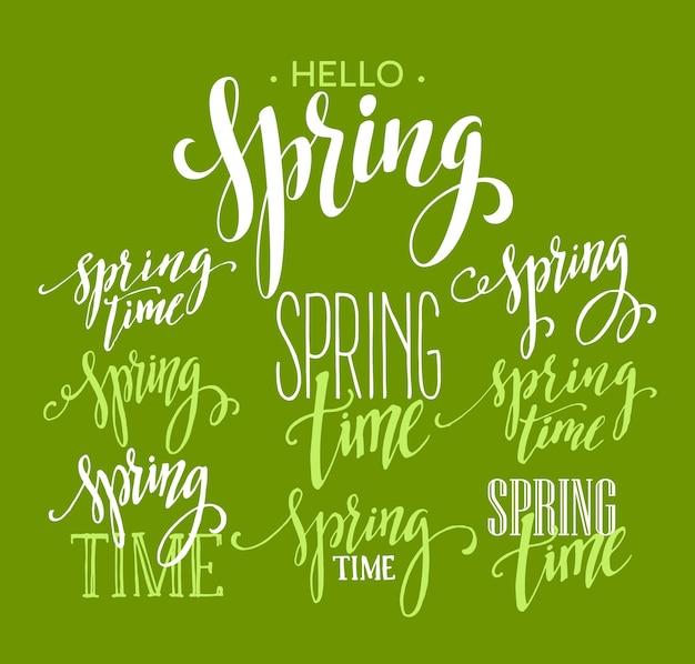 Spring time, ensemble de lettrage bonjour printemps. illustration