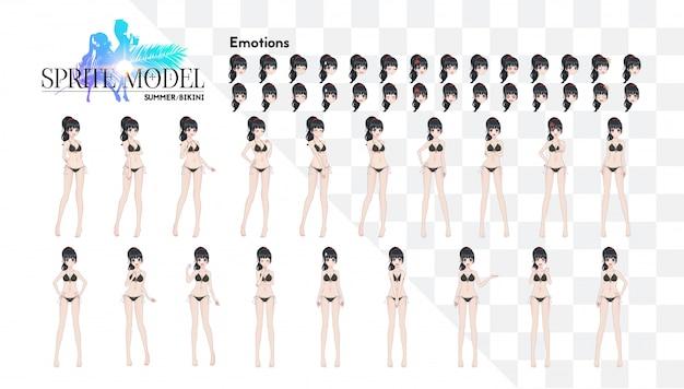 Sprite personnage de pleine longueur pour le roman visuel du jeu. anime manga girl, personnage de dessin animé dans un style japonais. en maillot de bain bikini d'été. ensemble d'émotions