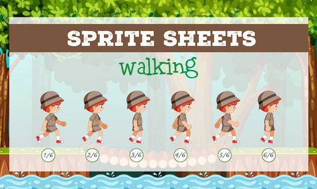 Sprite sheet boy marcher