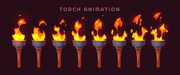 Sprite de torche de beau dessin animé