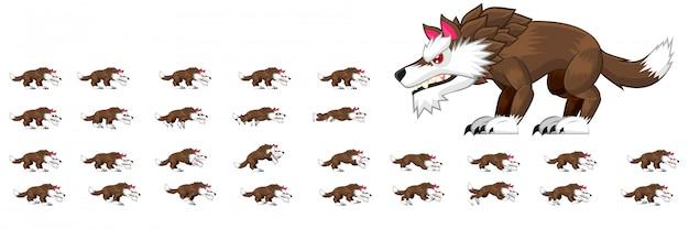 Sprites de caractère de loup
