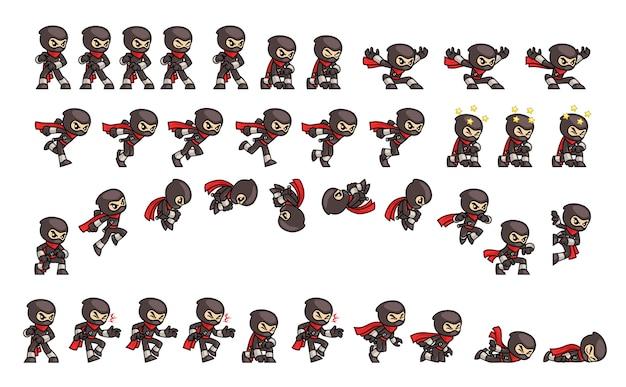 Sprites de jeu ninja noir