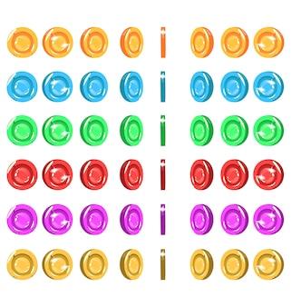 Sprites d'une pièce de monnaie tournante 6 couleurs animation de pièce de monnaie animation de dessin animé de pièce d'actif