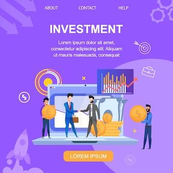 Square banner page de destination de l'investissement