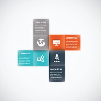 Square box business infographic option élément vectoriel couleur plate