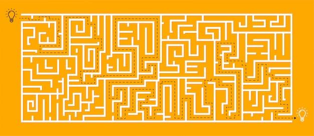 Square maze - un labyrinthe avec une solution incluse dans le black & red, un jeu de recherche d'idées et d'éducation pour la coordination, la résolution de problèmes, les tests, les compétences de prise de décision.