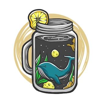 Squash boisson spatiale avec les baleines bleues et les lunes