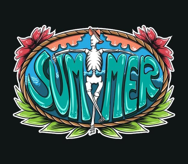 Squelette au milieu du lettrage d'été avec illustration de cadre coloré sur fond noir