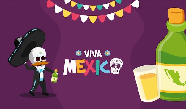 Squelette avec une bouteille et un coup de tequila