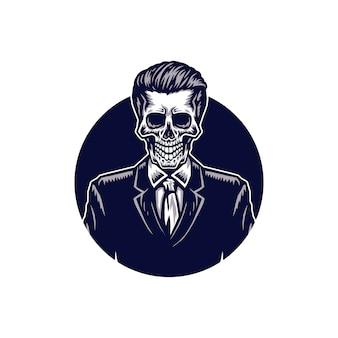 Squelette en costume, illustration dessinée à la main