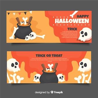 Squelette dans les bannières de halloween plat melting pot